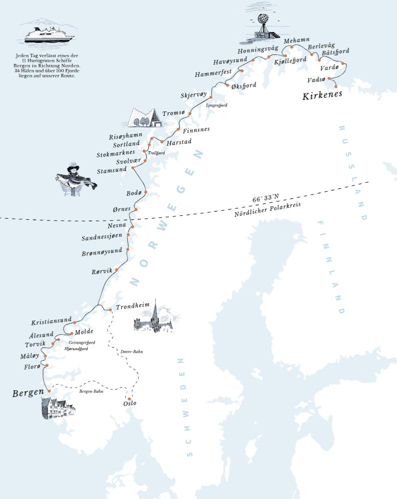 Karte Norwegen Hurtigruten.Hurtigruten Norwegen Von Hafen Zu Hafen Jensenreisen